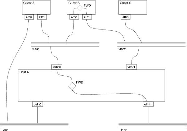 Rappresentazione logica di una topologia di rete virtuale